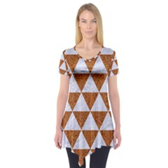 Triangle3 White Marble & Rusted Metal Short Sleeve Tunic