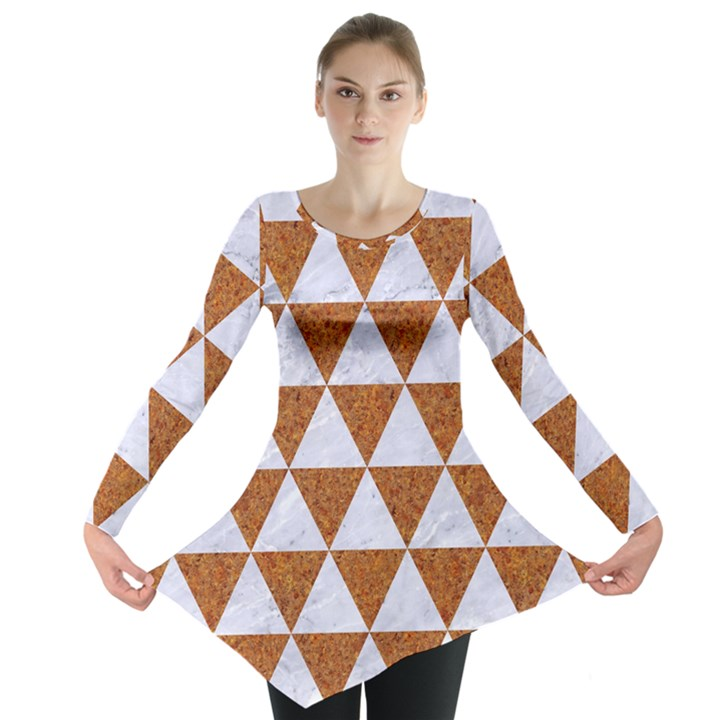 TRIANGLE3 WHITE MARBLE & RUSTED METAL Long Sleeve Tunic