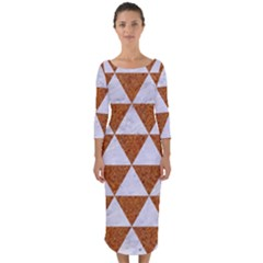 Triangle3 White Marble & Rusted Metal Quarter Sleeve Midi Bodycon Dress