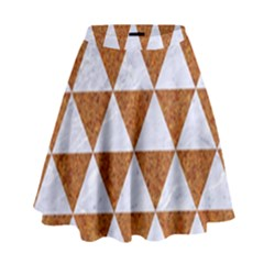 Triangle3 White Marble & Rusted Metal High Waist Skirt