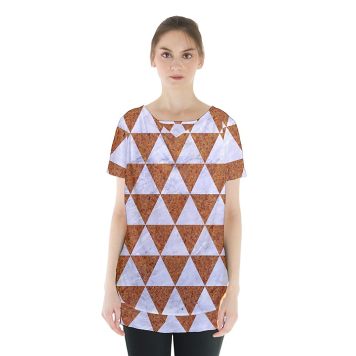 TRIANGLE3 WHITE MARBLE & RUSTED METAL Skirt Hem Sports Top