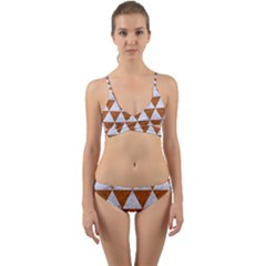Triangle3 White Marble & Rusted Metal Wrap Around Bikini Set