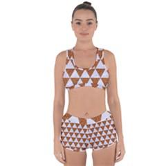 Triangle3 White Marble & Rusted Metal Racerback Boyleg Bikini Set