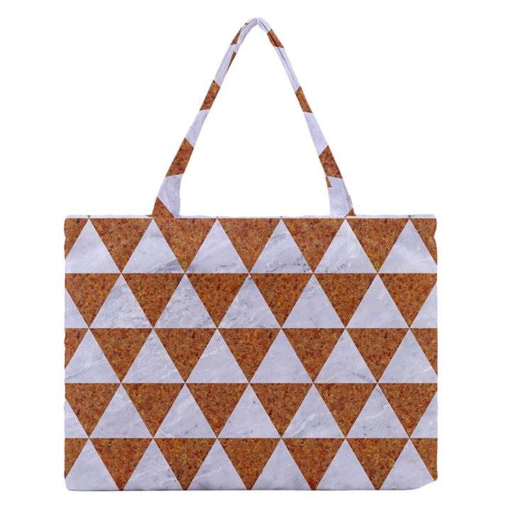 TRIANGLE3 WHITE MARBLE & RUSTED METAL Zipper Medium Tote Bag