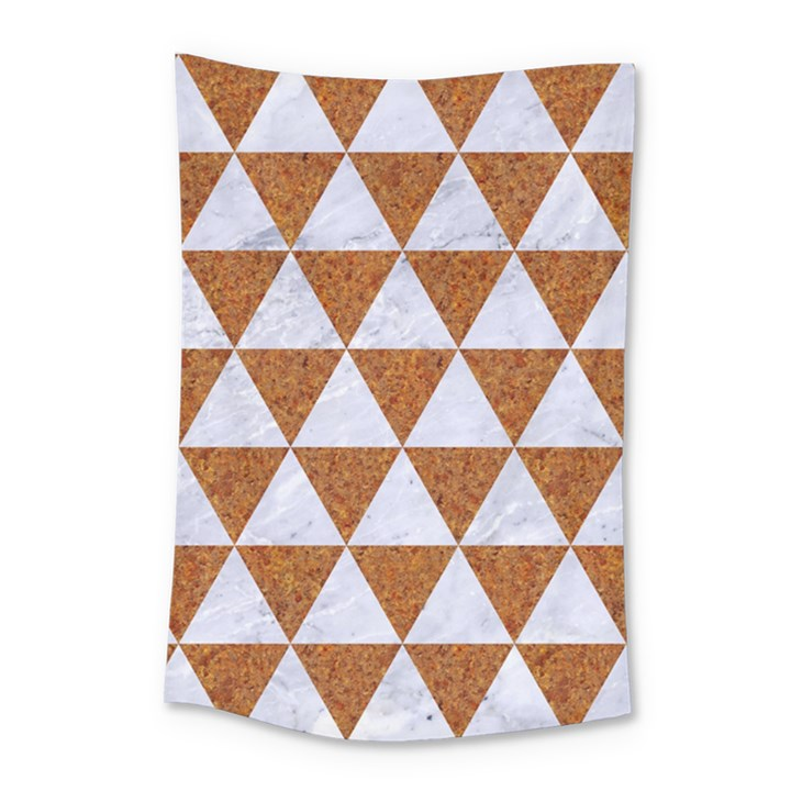 TRIANGLE3 WHITE MARBLE & RUSTED METAL Small Tapestry
