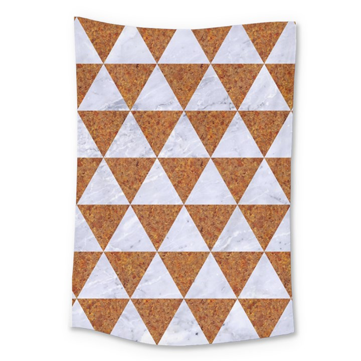 TRIANGLE3 WHITE MARBLE & RUSTED METAL Large Tapestry