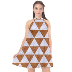 Triangle3 White Marble & Rusted Metal Halter Neckline Chiffon Dress