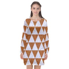 Triangle3 White Marble & Rusted Metal Long Sleeve Chiffon Shift Dress