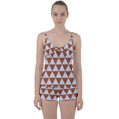 Triangle3 White Marble & Rusted Metal Tie Front Two Piece Tankini