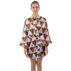 Triangle3 White Marble & Rusted Metal Long Sleeve Kimono Robe