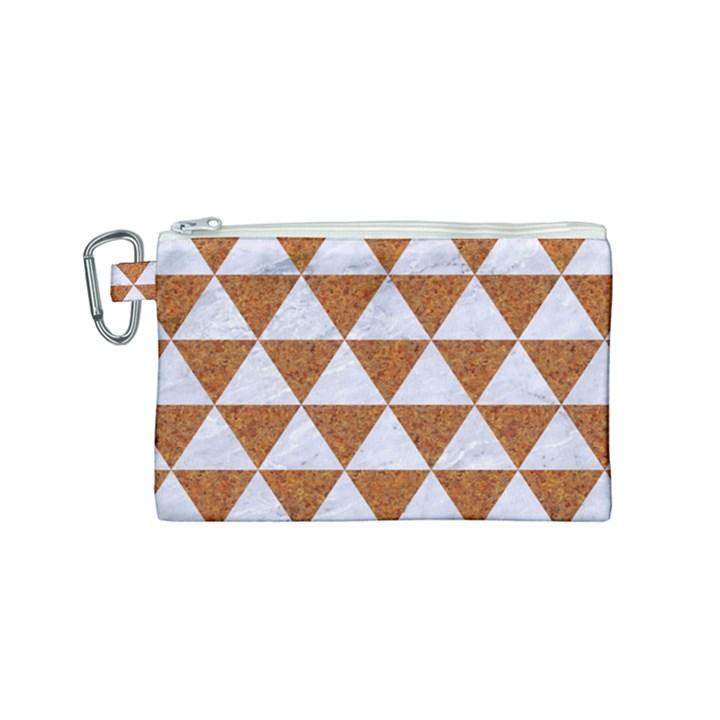 TRIANGLE3 WHITE MARBLE & RUSTED METAL Canvas Cosmetic Bag (Small)