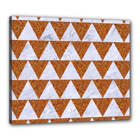 TRIANGLE2 WHITE MARBLE & RUSTED METAL Canvas 24  x 20