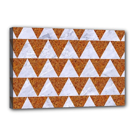 TRIANGLE2 WHITE MARBLE & RUSTED METAL Canvas 18  x 12