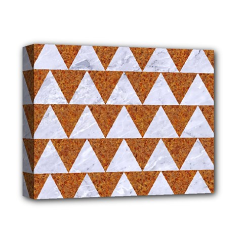 TRIANGLE2 WHITE MARBLE & RUSTED METAL Deluxe Canvas 14  x 11