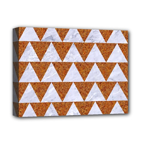 TRIANGLE2 WHITE MARBLE & RUSTED METAL Deluxe Canvas 16  x 12