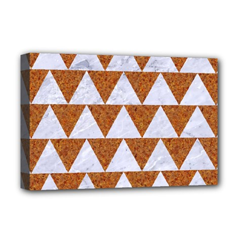 TRIANGLE2 WHITE MARBLE & RUSTED METAL Deluxe Canvas 18  x 12