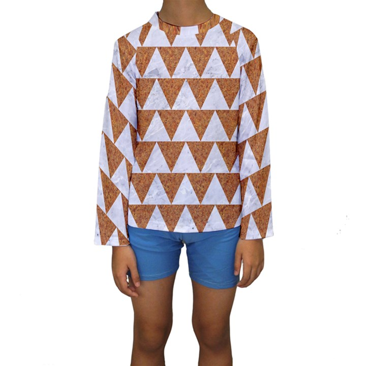 TRIANGLE2 WHITE MARBLE & RUSTED METAL Kids  Long Sleeve Swimwear