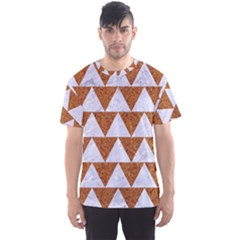 TRIANGLE2 WHITE MARBLE & RUSTED METAL Men s Sports Mesh Tee