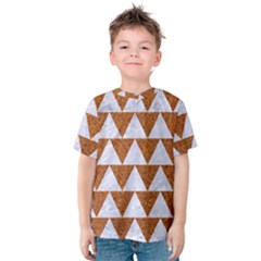 TRIANGLE2 WHITE MARBLE & RUSTED METAL Kids  Cotton Tee