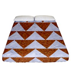 TRIANGLE2 WHITE MARBLE & RUSTED METAL Fitted Sheet (King Size)