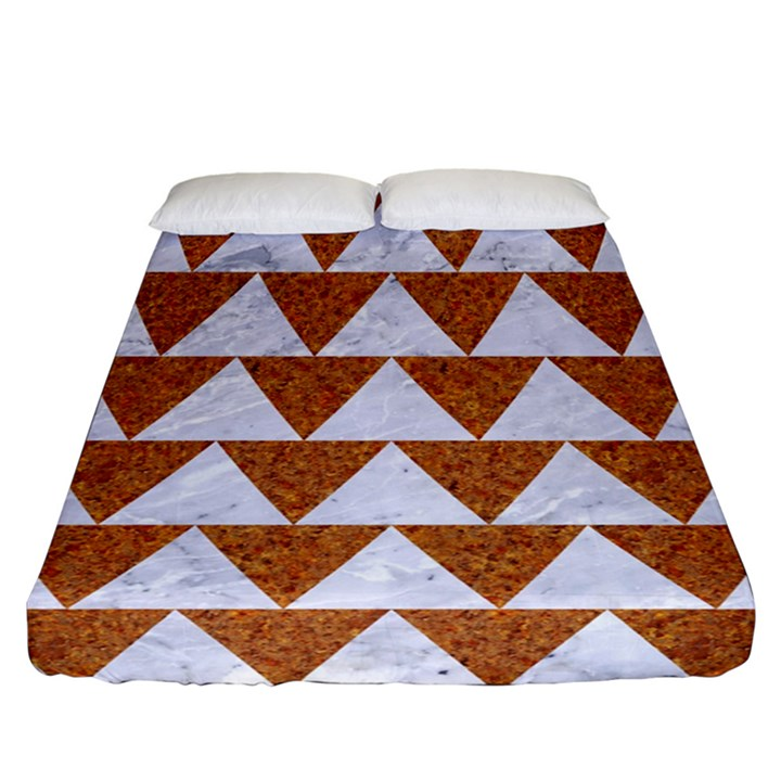 TRIANGLE2 WHITE MARBLE & RUSTED METAL Fitted Sheet (California King Size)