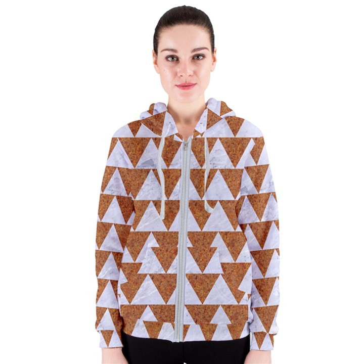 TRIANGLE2 WHITE MARBLE & RUSTED METAL Women s Zipper Hoodie