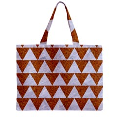 Triangle2 White Marble & Rusted Metal Zipper Mini Tote Bag