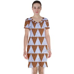 TRIANGLE2 WHITE MARBLE & RUSTED METAL Short Sleeve Nightdress