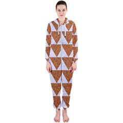 TRIANGLE2 WHITE MARBLE & RUSTED METAL Hooded Jumpsuit (Ladies)
