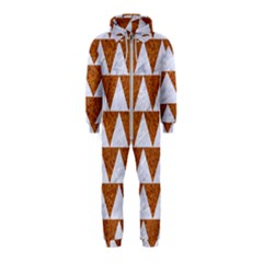 Triangle2 White Marble & Rusted Metal Hooded Jumpsuit (kids)