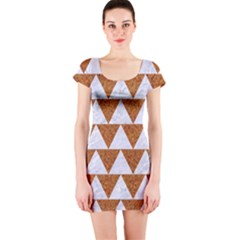 TRIANGLE2 WHITE MARBLE & RUSTED METAL Short Sleeve Bodycon Dress