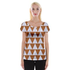 TRIANGLE2 WHITE MARBLE & RUSTED METAL Cap Sleeve Tops