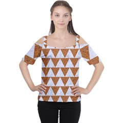 TRIANGLE2 WHITE MARBLE & RUSTED METAL Cutout Shoulder Tee