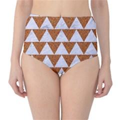 TRIANGLE2 WHITE MARBLE & RUSTED METAL High-Waist Bikini Bottoms