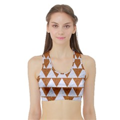 TRIANGLE2 WHITE MARBLE & RUSTED METAL Sports Bra with Border