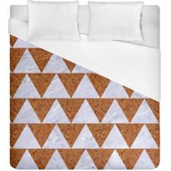 TRIANGLE2 WHITE MARBLE & RUSTED METAL Duvet Cover (King Size)