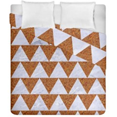 TRIANGLE2 WHITE MARBLE & RUSTED METAL Duvet Cover Double Side (California King Size)