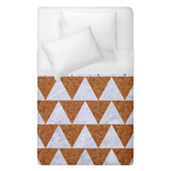 TRIANGLE2 WHITE MARBLE & RUSTED METAL Duvet Cover (Single Size)