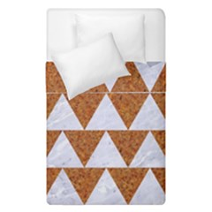 TRIANGLE2 WHITE MARBLE & RUSTED METAL Duvet Cover Double Side (Single Size)