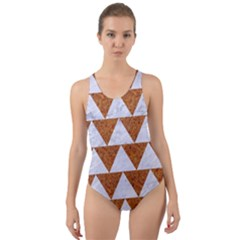 TRIANGLE2 WHITE MARBLE & RUSTED METAL Cut-Out Back One Piece Swimsuit