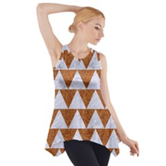 Triangle2 White Marble & Rusted Metal Side Drop Tank Tunic