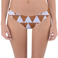 TRIANGLE2 WHITE MARBLE & RUSTED METAL Reversible Hipster Bikini Bottoms