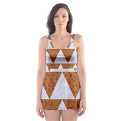 Triangle2 White Marble & Rusted Metal Skater Dress Swimsuit