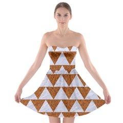 TRIANGLE2 WHITE MARBLE & RUSTED METAL Strapless Bra Top Dress