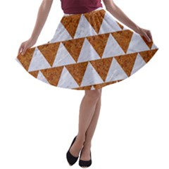 TRIANGLE2 WHITE MARBLE & RUSTED METAL A-line Skater Skirt