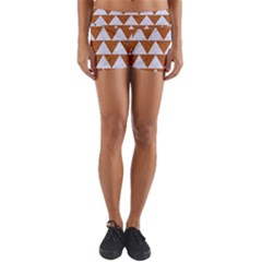 Triangle2 White Marble & Rusted Metal Yoga Shorts