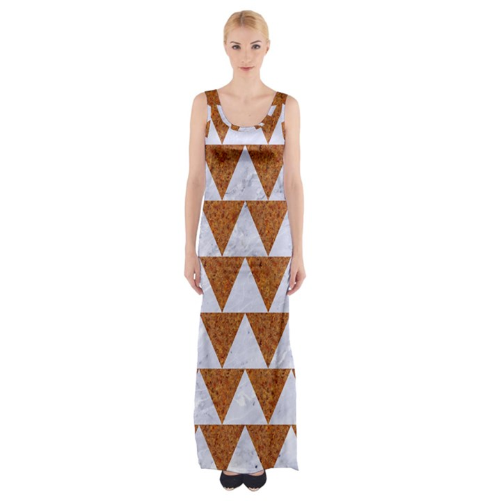 TRIANGLE2 WHITE MARBLE & RUSTED METAL Maxi Thigh Split Dress