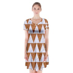TRIANGLE2 WHITE MARBLE & RUSTED METAL Short Sleeve V-neck Flare Dress