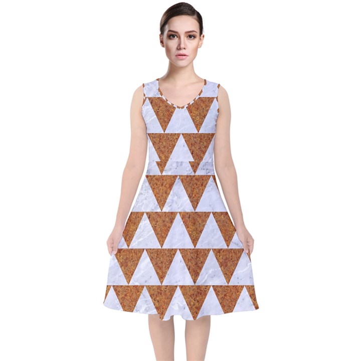 TRIANGLE2 WHITE MARBLE & RUSTED METAL V-Neck Midi Sleeveless Dress
