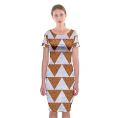 TRIANGLE2 WHITE MARBLE & RUSTED METAL Classic Short Sleeve Midi Dress